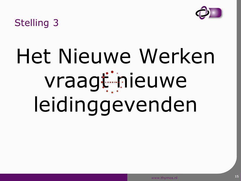 www.thymos.nl 15 Stelling 3 Het Nieuwe Werken vraagt nieuwe leidinggevenden