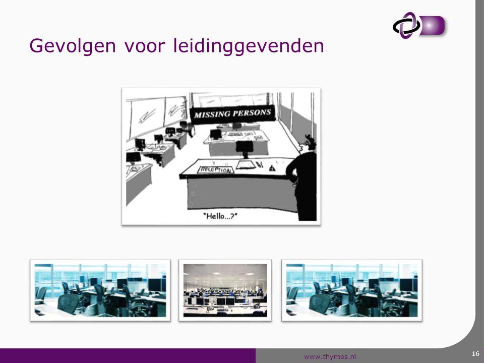 www.thymos.nl 17 Gevolgen voor leidinggevenden 1.Open en op afstand 2.Controleerbaar én transparant 3.Vertrouwen geven en krijgen 4.Status door toegevoegde waarde; minder door macht 5.Inspireren; aandacht voor talent i.p.v.