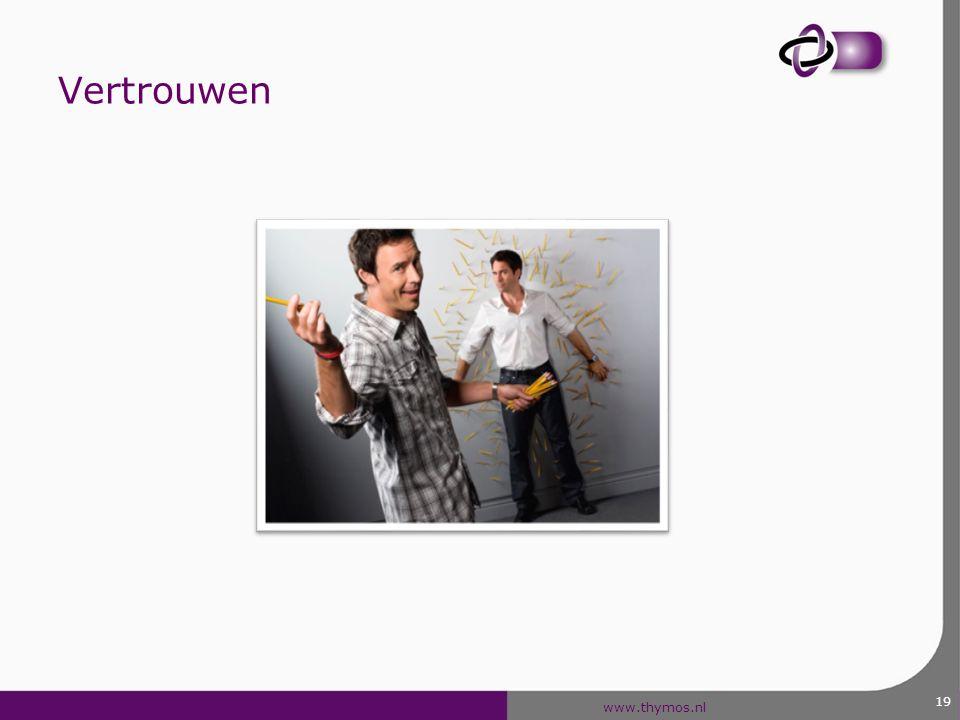 www.thymos.nl Vertrouwen In een instituut (confidence) In een persoon (trust) Gevoel van vertrouwen in een persoon.