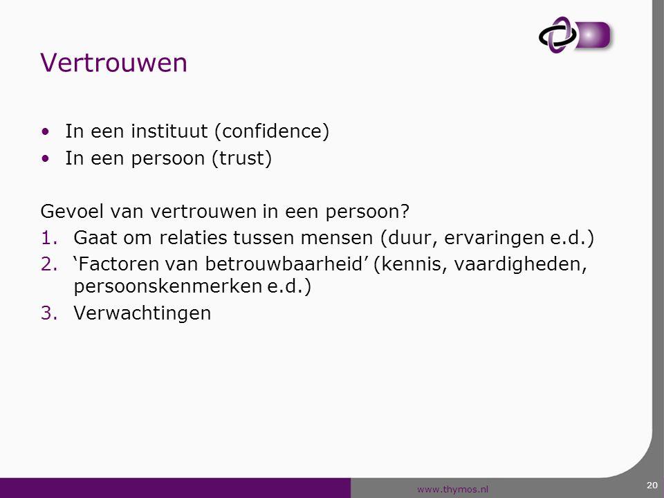 www.thymos.nl Vertrouwen In een instituut (confidence) In een persoon (trust) Gevoel van vertrouwen in een persoon? 1.Gaat om relaties tussen mensen (