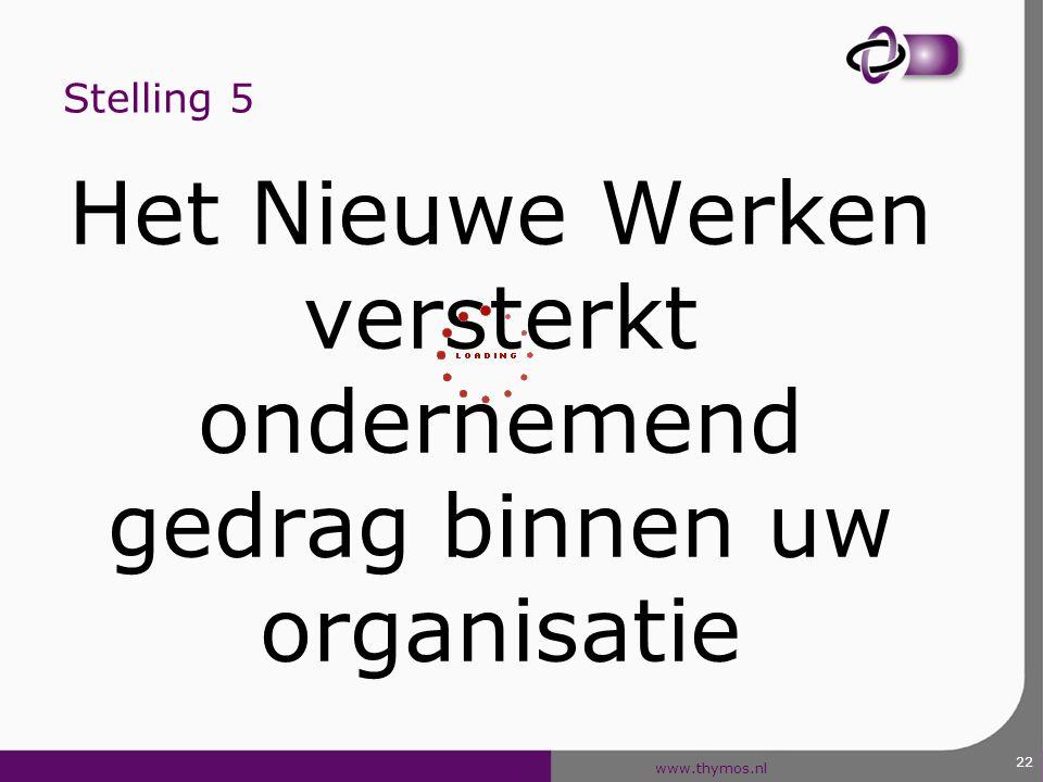 www.thymos.nl 22 Stelling 5 Het Nieuwe Werken versterkt ondernemend gedrag binnen uw organisatie