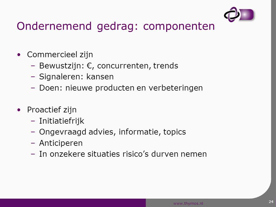 www.thymos.nl Ondernemend gedrag: componenten Commercieel zijn –Bewustzijn: €, concurrenten, trends –Signaleren: kansen –Doen: nieuwe producten en ver