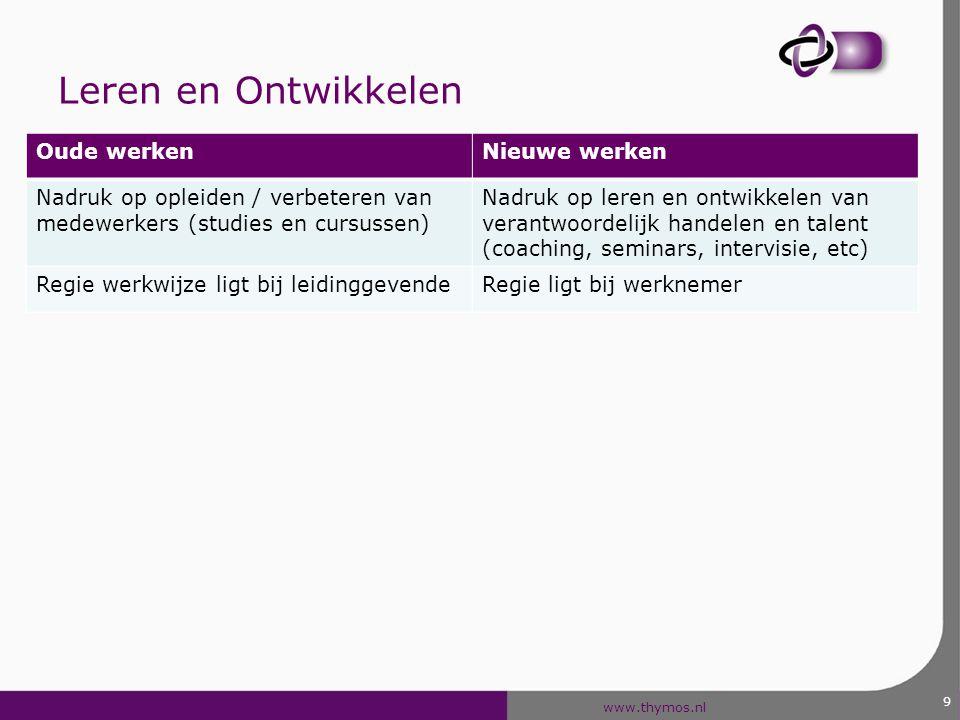 www.thymos.nl 9 Leren en Ontwikkelen Oude werkenNieuwe werken Nadruk op opleiden / verbeteren van medewerkers (studies en cursussen) Nadruk op leren e