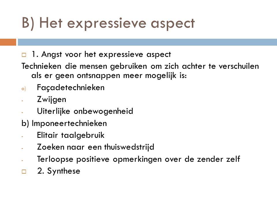 B) Het expressieve aspect 11. Angst voor het expressieve aspect Technieken die mensen gebruiken om zich achter te verschuilen als er geen ontsnappen