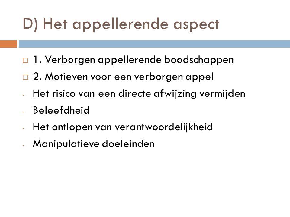D) Het appellerende aspect 11. Verborgen appellerende boodschappen 22. Motieven voor een verborgen appel -H-Het risico van een directe afwijzing v