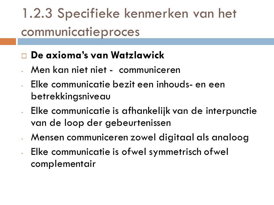 1.2.3 Specifieke kenmerken van het communicatieproces DDe axioma's van Watzlawick -M-Men kan niet niet - communiceren -E-Elke communicatie bezit een