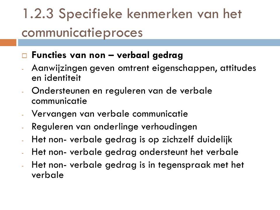 1.2.3 Specifieke kenmerken van het communicatieproces FFuncties van non – verbaal gedrag -A-Aanwijzingen geven omtrent eigenschappen, attitudes en i