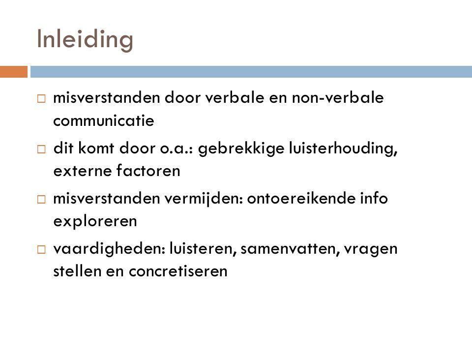 Inleiding mmisverstanden door verbale en non-verbale communicatie ddit komt door o.a.: gebrekkige luisterhouding, externe factoren mmisverstande