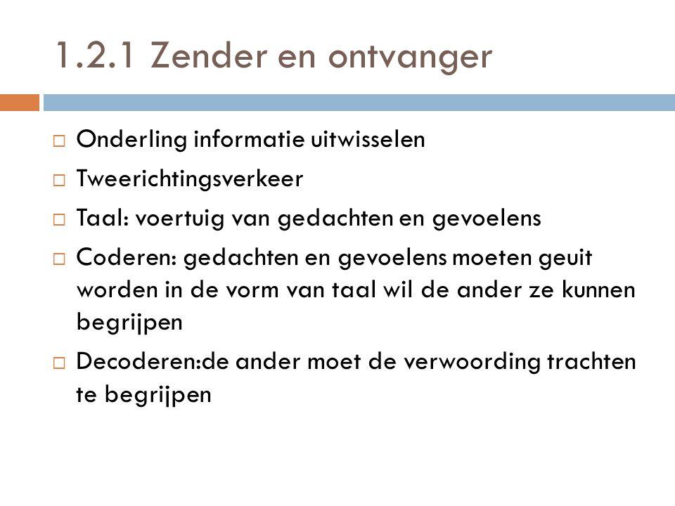 1.2.1 Zender en ontvanger OOnderling informatie uitwisselen TTweerichtingsverkeer TTaal: voertuig van gedachten en gevoelens CCoderen: gedacht
