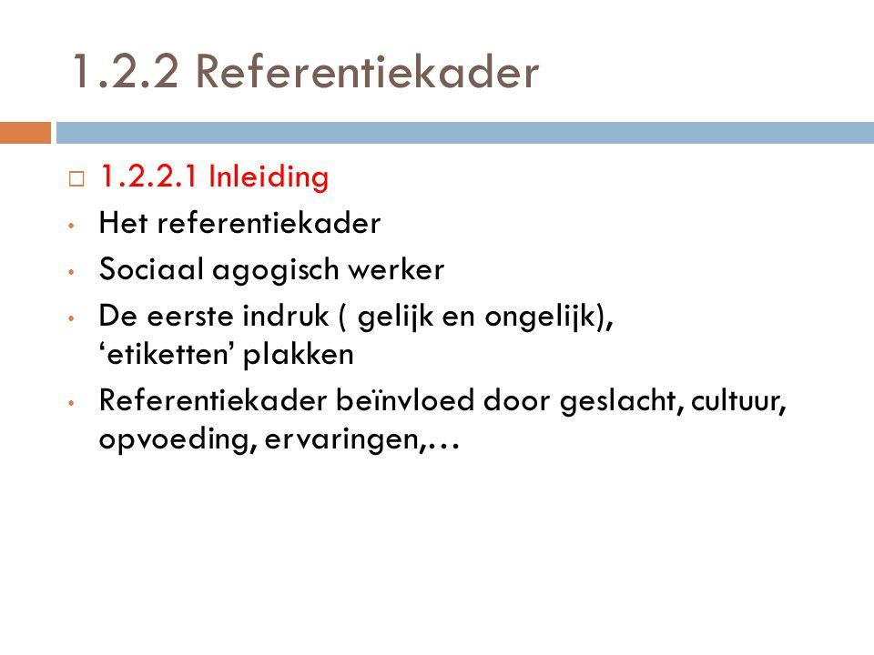 1.2.2 Referentiekader 11.2.2.1 Inleiding Het referentiekader Sociaal agogisch werker De eerste indruk ( gelijk en ongelijk), 'etiketten' plakken Ref