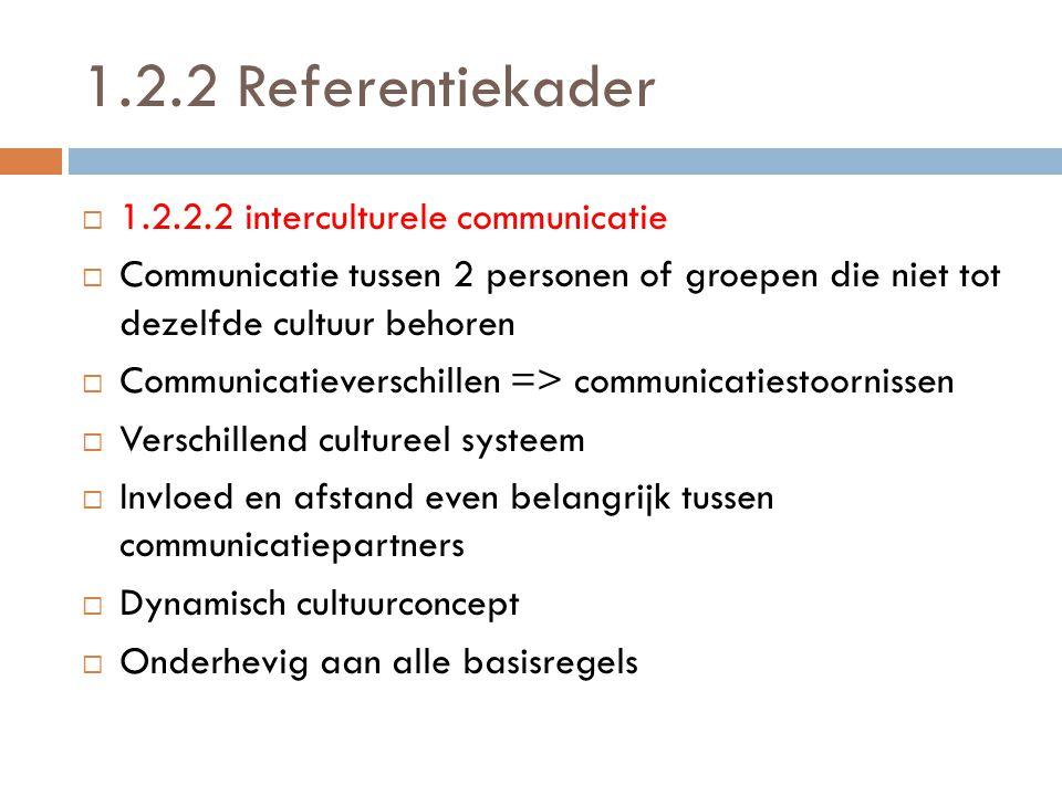 1.2.2 Referentiekader 11.2.2.2 interculturele communicatie CCommunicatie tussen 2 personen of groepen die niet tot dezelfde cultuur behoren CCom