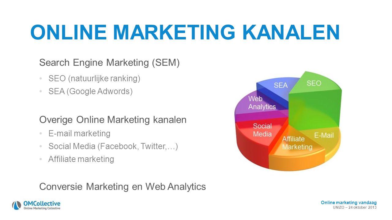 Online marketing vandaag UNIZO – 24 oktober 2013 ONLINE MARKETING KANALEN Search Engine Marketing (SEM) SEO (natuurlijke ranking) SEA (Google Adwords)