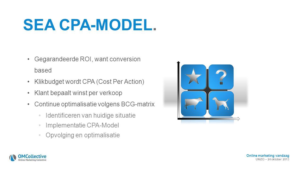 Online marketing vandaag UNIZO – 24 oktober 2013 SEA CPA-MODEL. Gegarandeerde ROI, want conversion based Klikbudget wordt CPA (Cost Per Action) Klant