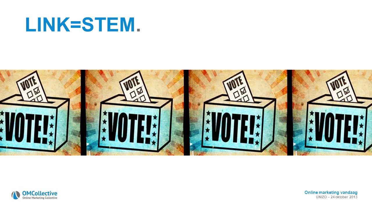 Online marketing vandaag UNIZO – 24 oktober 2013 LINK=STEM.