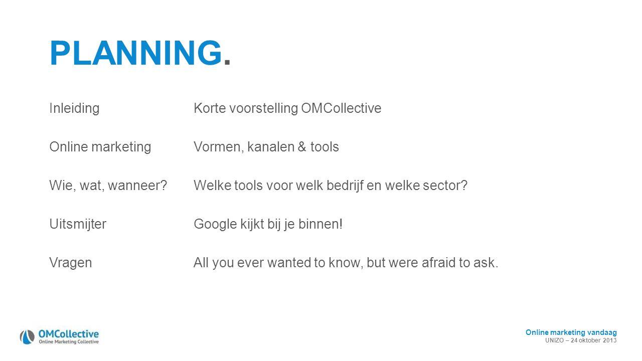 Online marketing vandaag UNIZO – 24 oktober 2013 PLANNING. InleidingKorte voorstelling OMCollective Online marketingVormen, kanalen & tools Wie, wat,