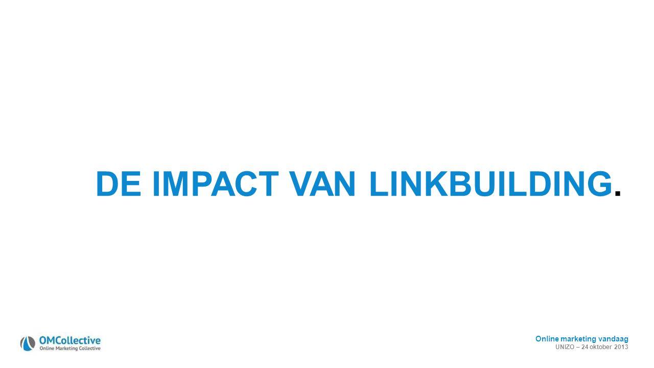 Online marketing vandaag UNIZO – 24 oktober 2013 DE IMPACT VAN LINKBUILDING.