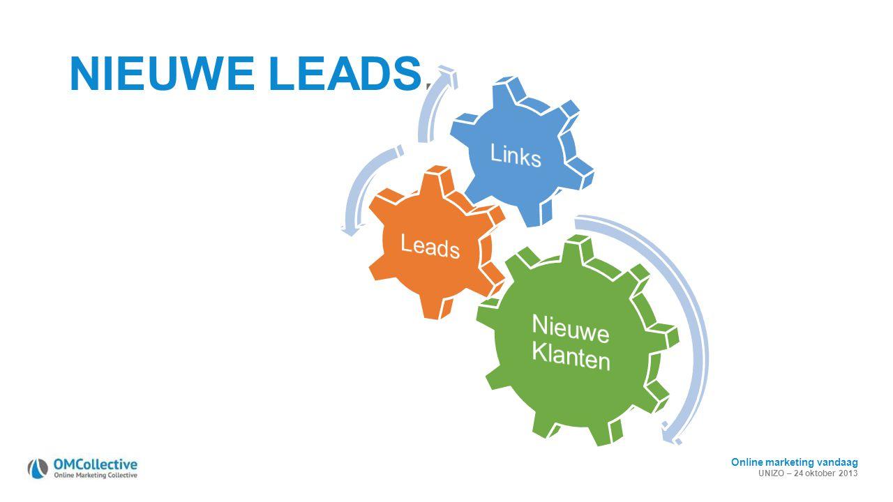 Online marketing vandaag UNIZO – 24 oktober 2013 NIEUWE LEADS.