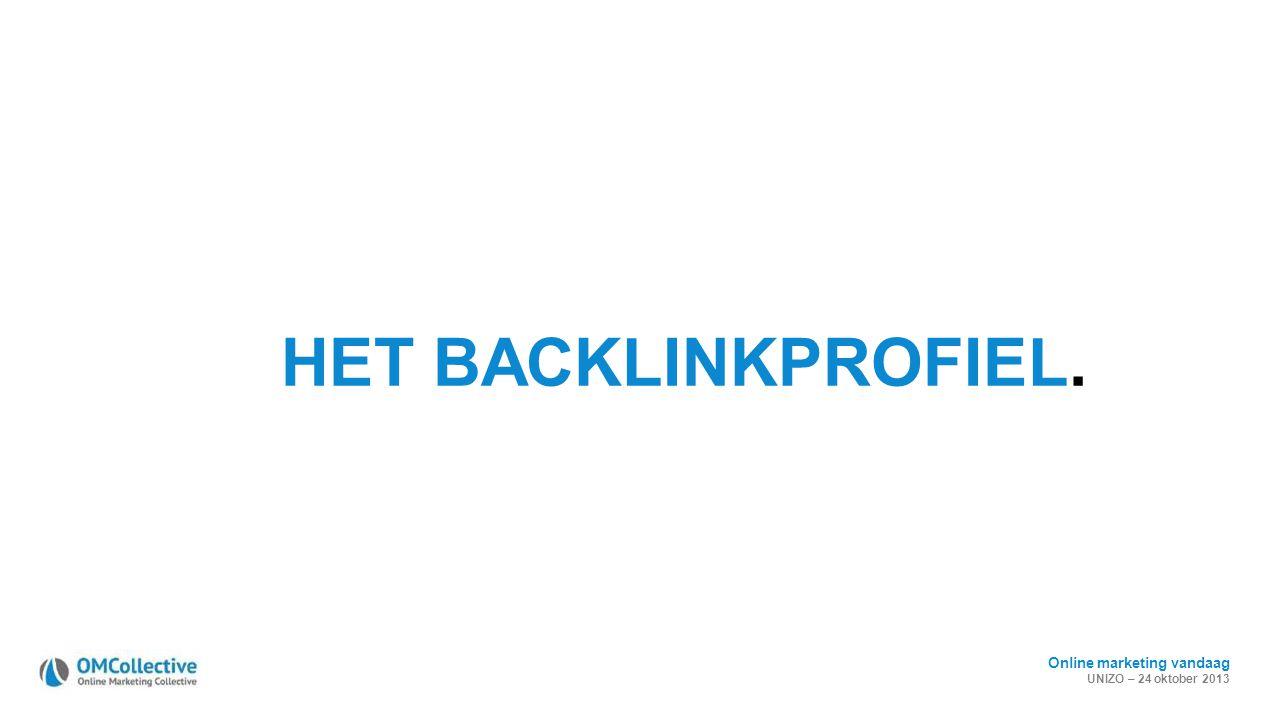 Online marketing vandaag UNIZO – 24 oktober 2013 HET BACKLINKPROFIEL.