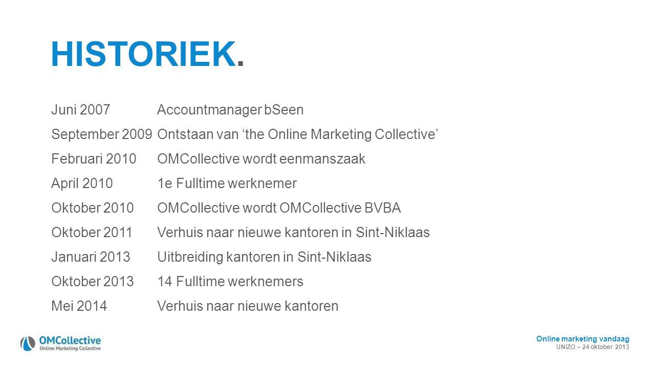Online marketing vandaag UNIZO – 24 oktober 2013 HISTORIEK. Juni 2007Accountmanager bSeen September 2009Ontstaan van 'the Online Marketing Collective'