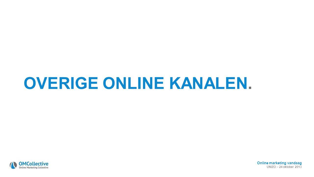 Online marketing vandaag UNIZO – 24 oktober 2013 OVERIGE ONLINE KANALEN.