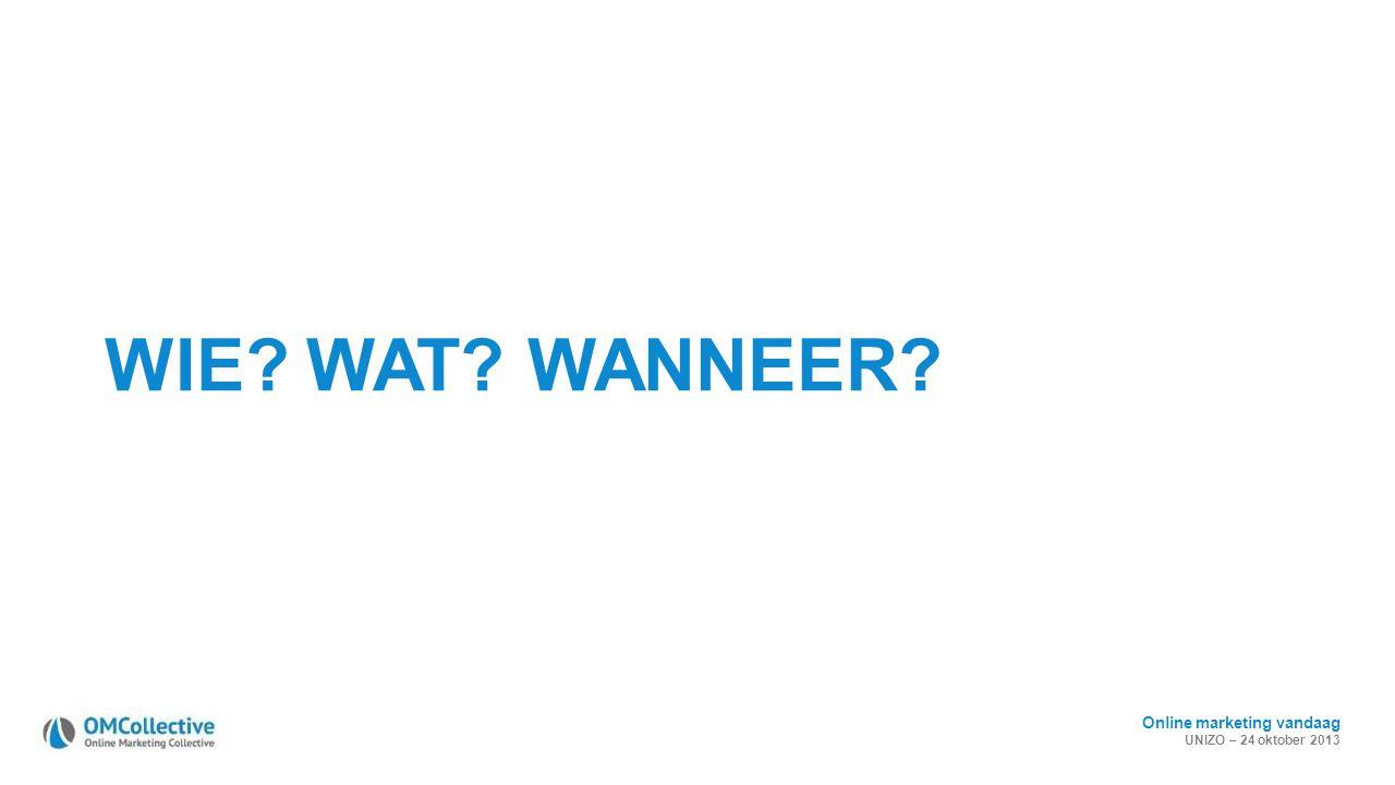 Online marketing vandaag UNIZO – 24 oktober 2013 WIE? WAT? WANNEER?