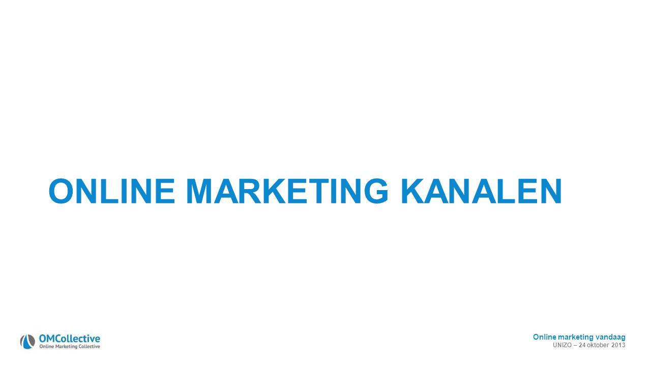 Online marketing vandaag UNIZO – 24 oktober 2013 ONLINE MARKETING KANALEN