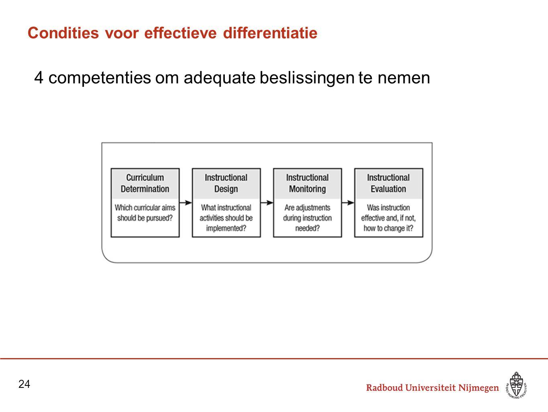 Condities voor effectieve differentiatie 4 competenties om adequate beslissingen te nemen 24