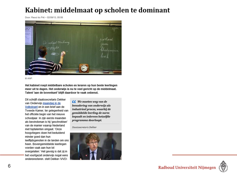 Omgaan met verschillen: wat is het probleem 7 Ontwikkelingen in het onderwijs (aandacht voor excellentie, passend onderwijs) Constructivistische theorieën over onderwijs en leren