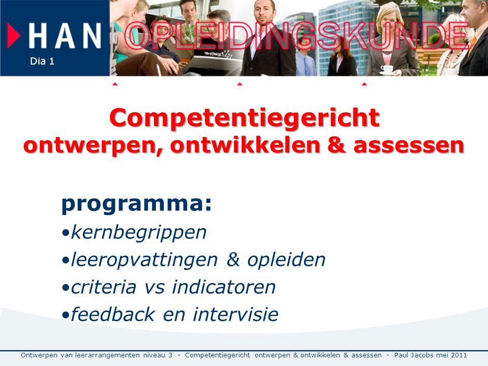 Competentiegericht ontwerpen, ontwikkelen & assessen programma: kernbegrippen leeropvattingen & opleiden criteria vs indicatoren feedback en intervisi