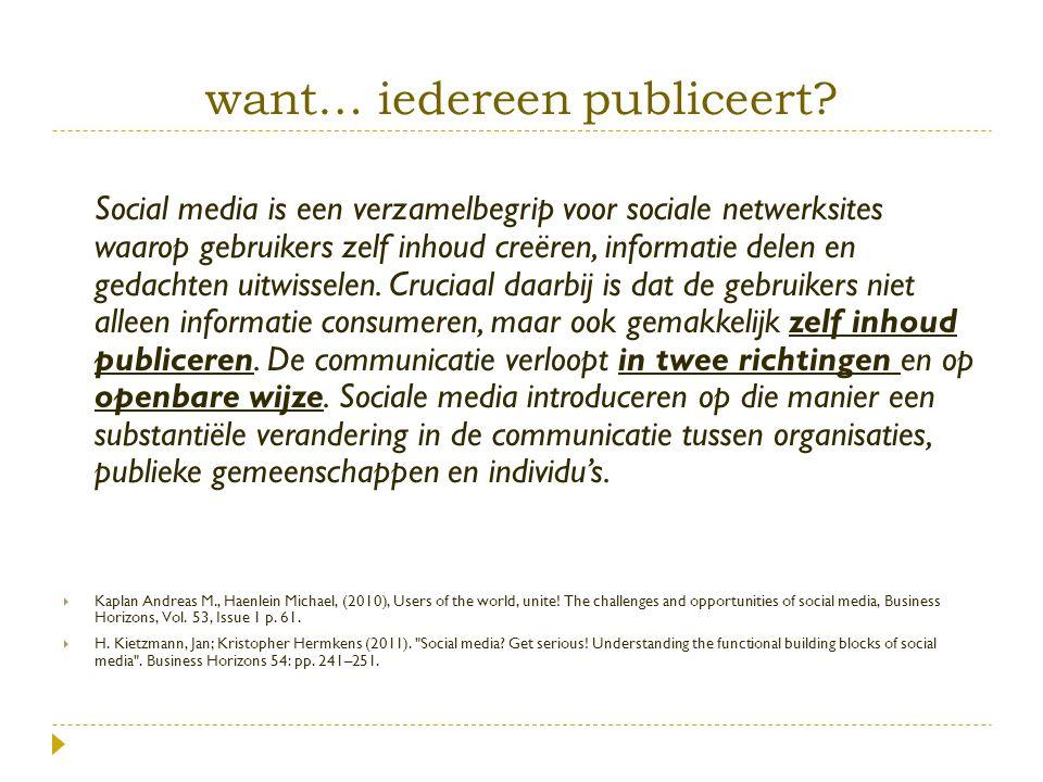 want… iedereen publiceert? Social media is een verzamelbegrip voor sociale netwerksites waarop gebruikers zelf inhoud creëren, informatie delen en ged