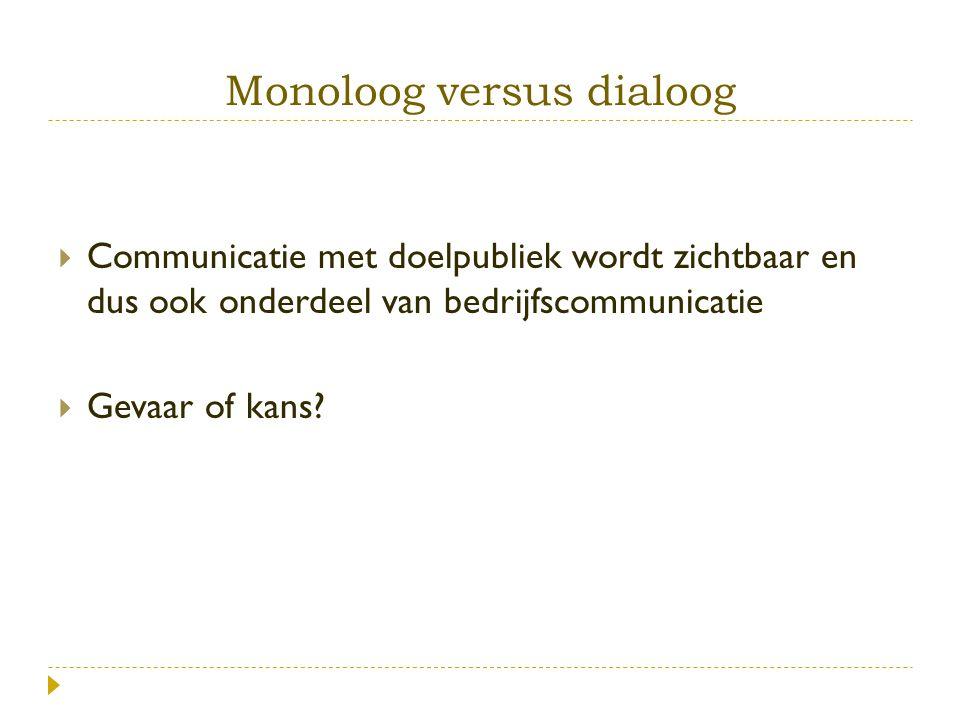Monoloog versus dialoog  Communicatie met doelpubliek wordt zichtbaar en dus ook onderdeel van bedrijfscommunicatie  Gevaar of kans?
