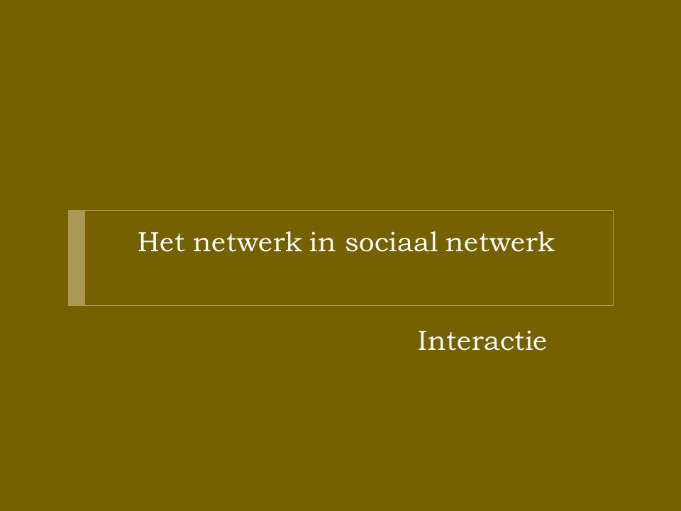 Het netwerk in sociaal netwerk Interactie