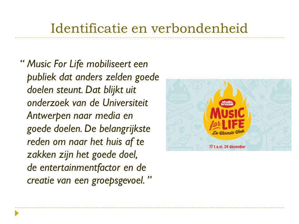 """""""Music For Life mobiliseert een publiek dat anders zelden goede doelen steunt. Dat blijkt uit onderzoek van de Universiteit Antwerpen naar media en go"""