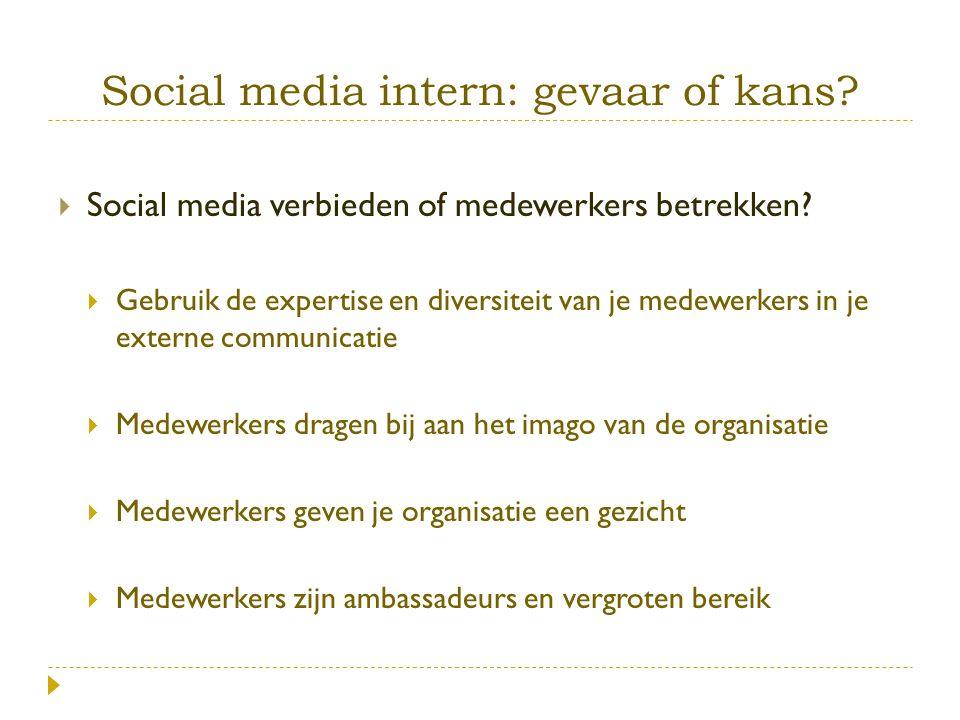 Social media intern: gevaar of kans.  Social media verbieden of medewerkers betrekken.