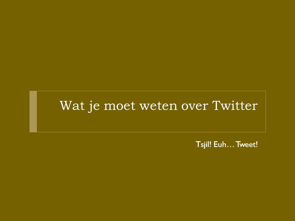 Wat je moet weten over Twitter Tsjil! Euh… Tweet!