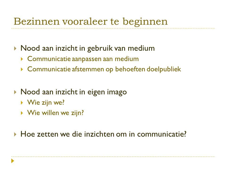 Bezinnen vooraleer te beginnen  Nood aan inzicht in gebruik van medium  Communicatie aanpassen aan medium  Communicatie afstemmen op behoeften doelpubliek  Nood aan inzicht in eigen imago  Wie zijn we.