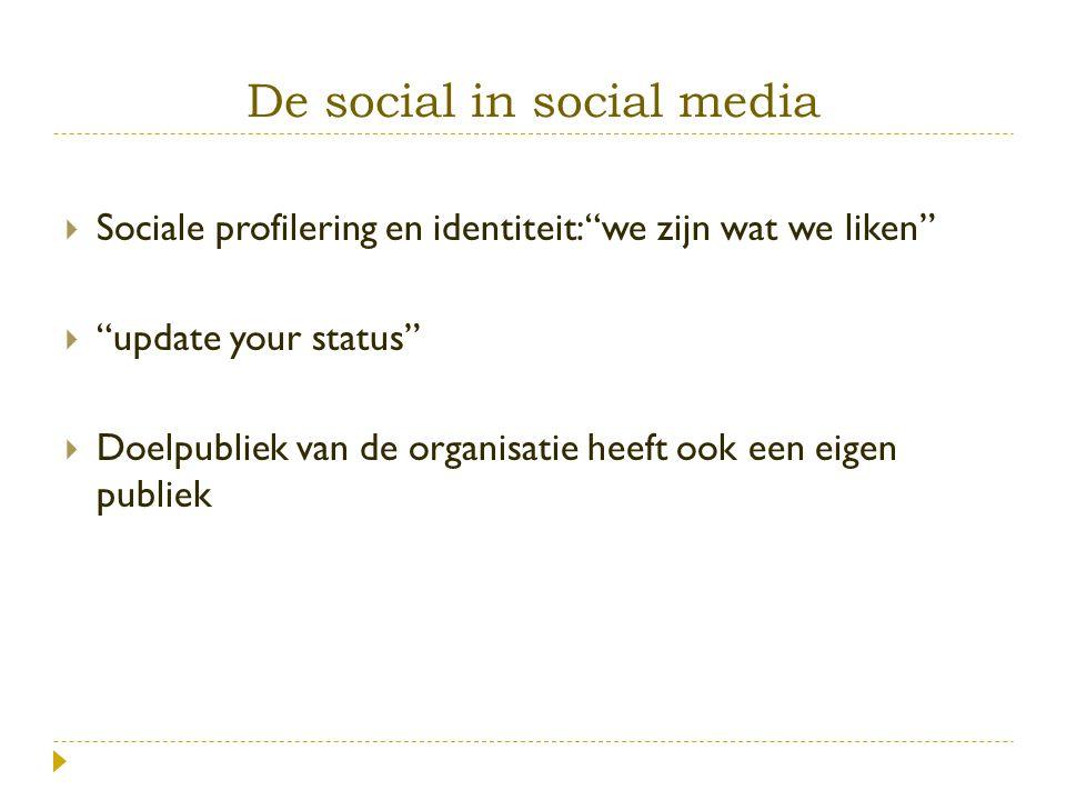 """ Sociale profilering en identiteit: """"we zijn wat we liken""""  """"update your status""""  Doelpubliek van de organisatie heeft ook een eigen publiek"""