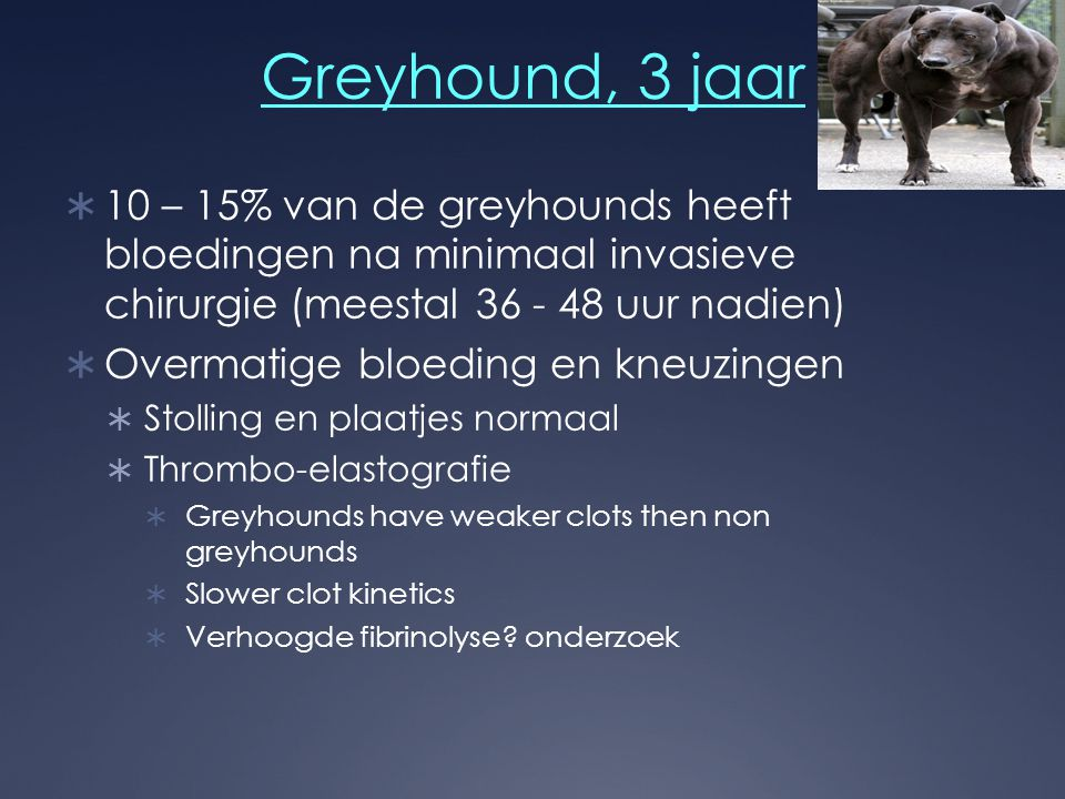 Greyhound, 3 jaar  10 – 15% van de greyhounds heeft bloedingen na minimaal invasieve chirurgie (meestal 36 - 48 uur nadien)  Overmatige bloeding en kneuzingen  Stolling en plaatjes normaal  Thrombo-elastografie  Greyhounds have weaker clots then non greyhounds  Slower clot kinetics  Verhoogde fibrinolyse.
