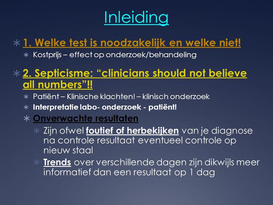 """Inleiding  1. Welke test is noodzakelijk en welke niet!  Kostprijs – effect op onderzoek/behandeling  2. Septicisme: """"clinicians should not believe"""