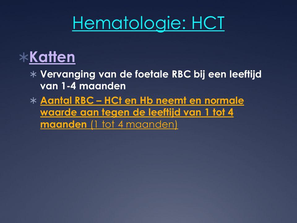 Hematologie: HCT  Katten  Vervanging van de foetale RBC bij een leeftijd van 1-4 maanden  Aantal RBC – HCt en Hb neemt en normale waarde aan tegen