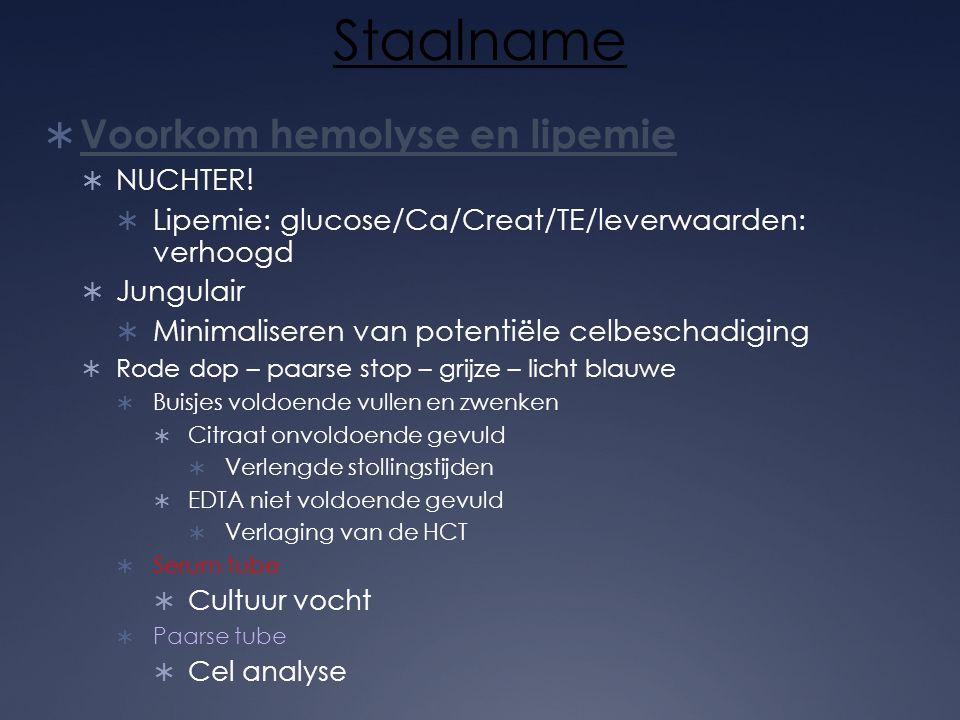 Staalname  Voorkom hemolyse en lipemie  NUCHTER!  Lipemie: glucose/Ca/Creat/TE/leverwaarden: verhoogd  Jungulair  Minimaliseren van potentiële ce