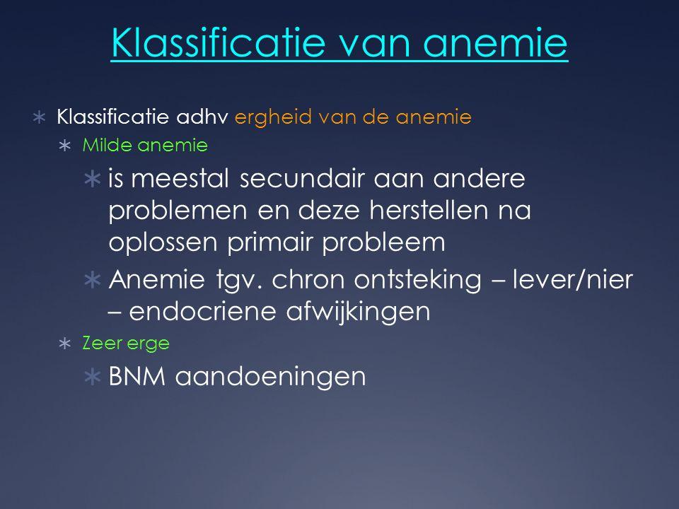 Klassificatie van anemie  Klassificatie adhv ergheid van de anemie  Milde anemie  is meestal secundair aan andere problemen en deze herstellen na o