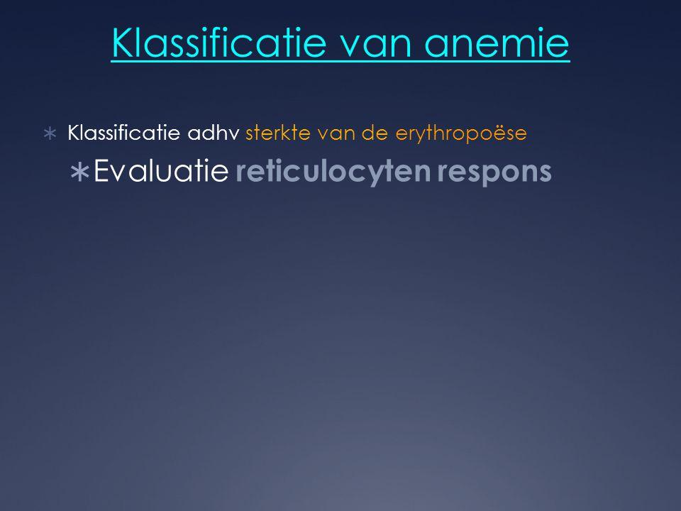 Klassificatie van anemie  Klassificatie adhv sterkte van de erythropoëse  Evaluatie reticulocyten respons