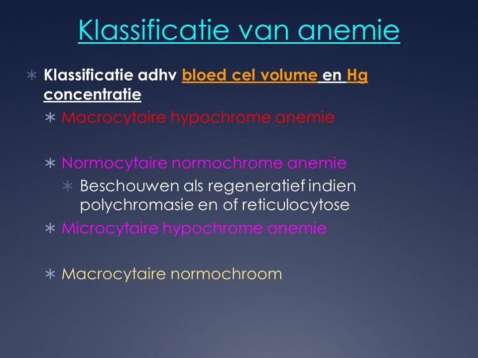 Klassificatie van anemie  Klassificatie adhv bloed cel volume en Hg concentratie  Macrocytaire hypochrome anemie  Normocytaire normochrome anemie 