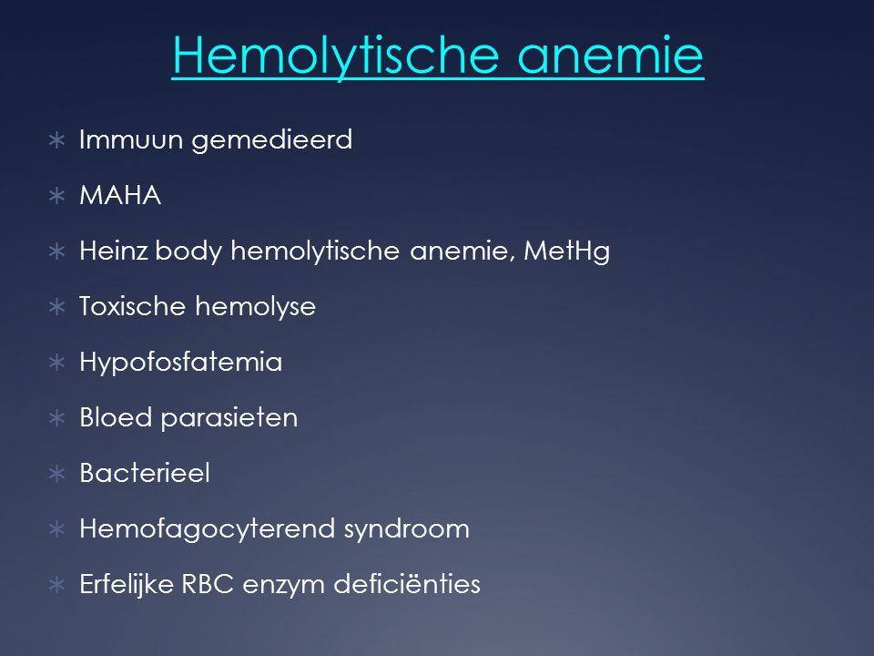Hemolytische anemie  Immuun gemedieerd  MAHA  Heinz body hemolytische anemie, MetHg  Toxische hemolyse  Hypofosfatemia  Bloed parasieten  Bacte