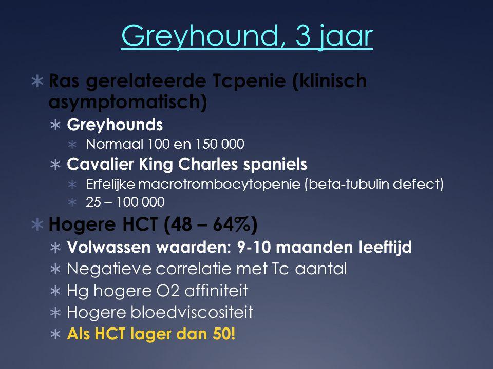 Greyhound, 3 jaar  Ras gerelateerde Tcpenie (klinisch asymptomatisch)  Greyhounds  Normaal 100 en 150 000  Cavalier King Charles spaniels  Erfeli