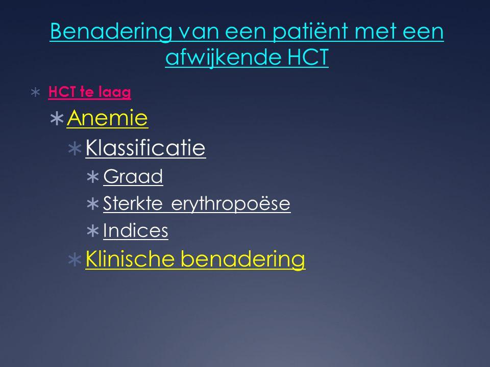 Benadering van een patiënt met een afwijkende HCT  HCT te laag  Anemie  Klassificatie  Graad  Sterkte erythropoëse  Indices  Klinische benaderi