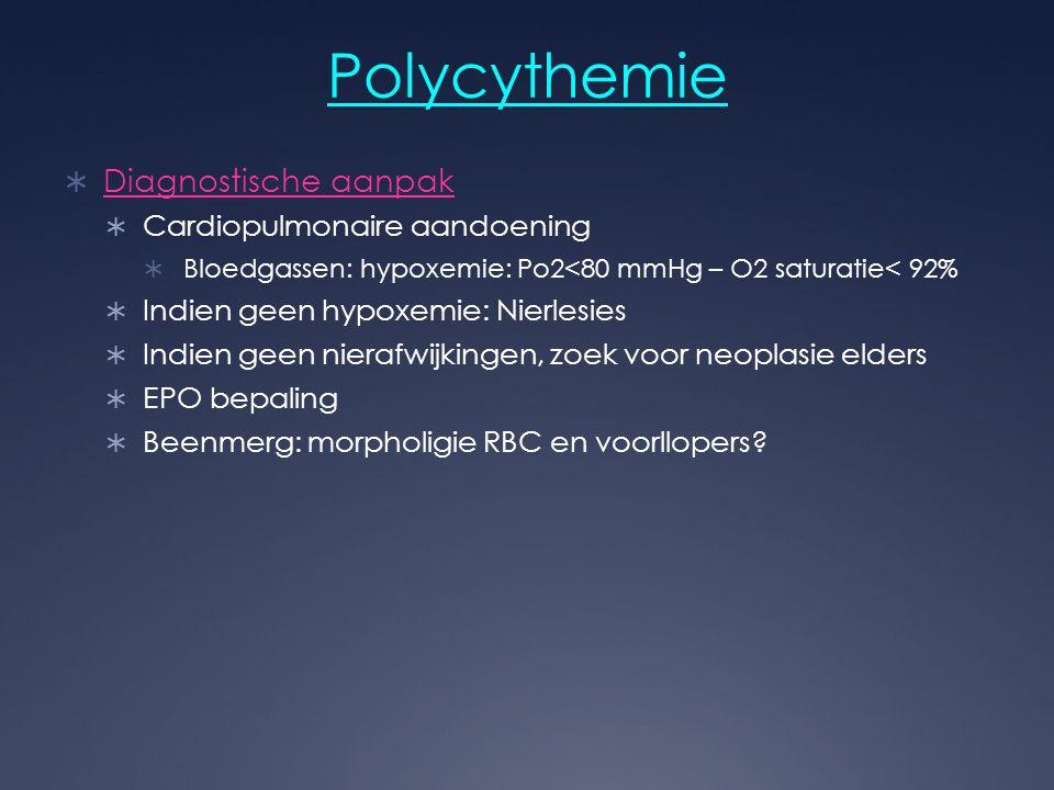 Polycythemie  Diagnostische aanpak  Cardiopulmonaire aandoening  Bloedgassen: hypoxemie: Po2<80 mmHg – O2 saturatie< 92%  Indien geen hypoxemie: N