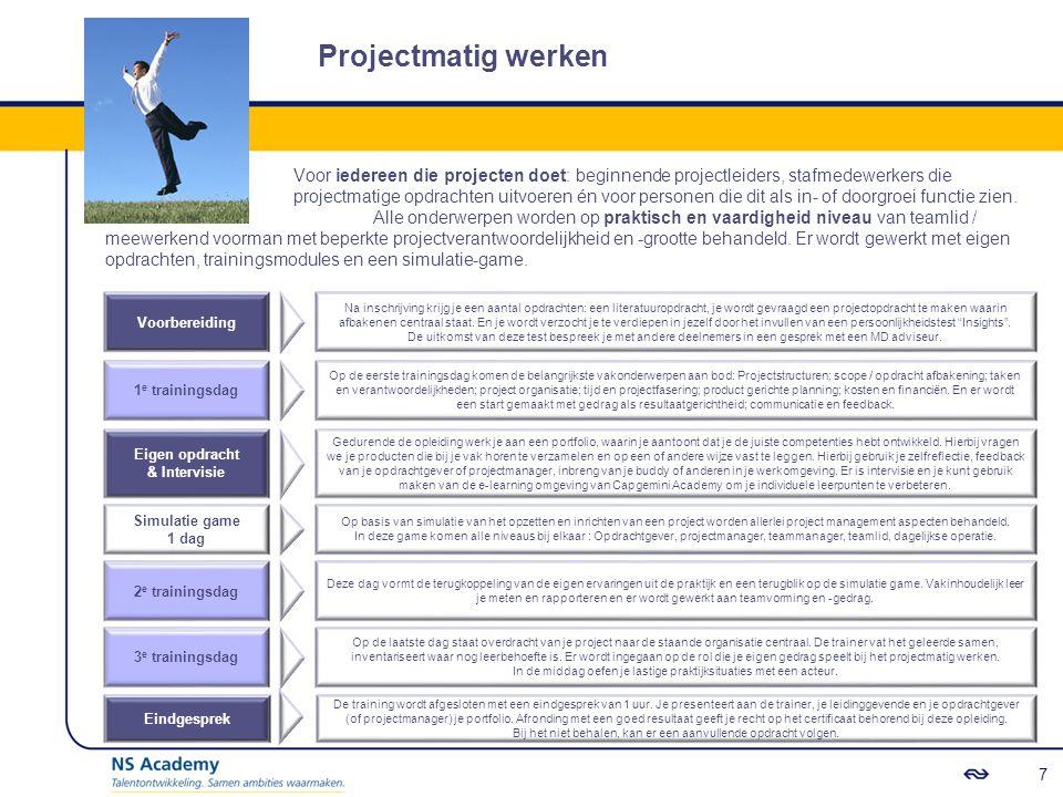 Projectmatig werken Voor iedereen die projecten doet: beginnende projectleiders, stafmedewerkers die projectmatige opdrachten uitvoeren én voor personen die dit als in- of doorgroei functie zien.