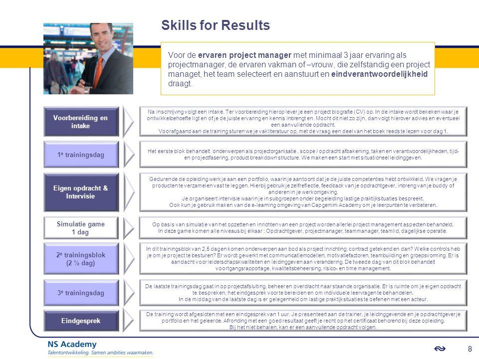 Skills for Success Voor de zeer ervaren vakman of -vrouw, met minimaal 7 jaar projectmanagement ervaring, die zelfstandig grote en complexere projecten of programma's uitvoert met een hoge zichtbaarheid en meerdere stakeholders, ook buiten NS.